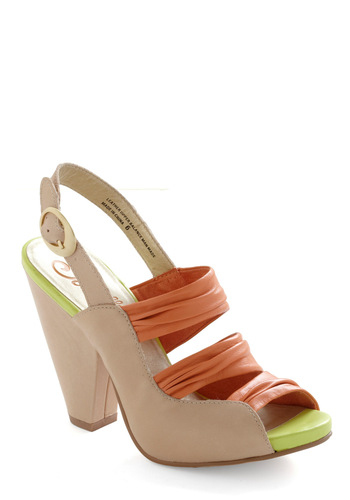 Aloof Heel by Seychelles - Tan, Multi, Orange, Green, Buckles, Casual, Spring