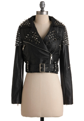 Like a Boss-y Jacket - Short, Black, Silver, Studs, Long Sleeve, Buckles, Exposed zipper, Solid, Party, 80s, 2, Faux Leather