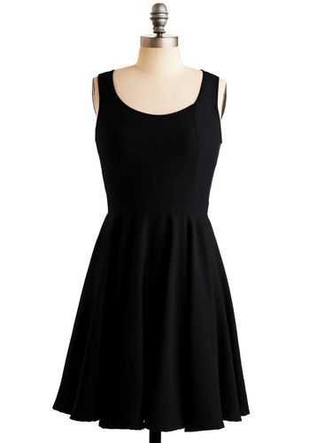 Just About Anywhere Dress in Black - Black, Solid, Party, A-line, Tank top (2 thick straps), Mid-length