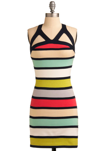 Style Spectrum Dress - Multi, Red, Yellow, Green, Black, White, Stripes, Cutout, Party, Casual, Shift, Spaghetti Straps, Racerback, 80s, Short