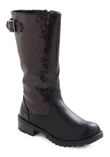 Ready to Glam Rock Boot - Black, Solid, Buckles, Statement