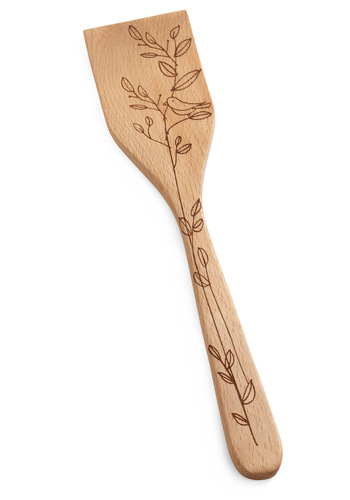 Flock on Wood Spatula - Tan, Brown, Print with Animals