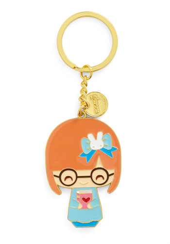 Short Story Society Keychain in Eve - Multi, Gold, Kawaii