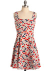 Very Berry Charming Dress - Mid-length, Print, A-line, Tank top (2 thick straps), Casual, Vintage Inspired, 40s, Red, Blue, Tan / Cream, Fruits