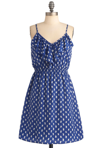 Meet Me at Sunset Dress in Smitten Kittens - Mid-length, Blue, White, Ruffles, A-line, Casual, Print with Animals, Racerback