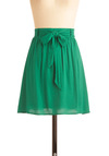Clover the Moon Skirt - Short, Green, Solid, Belted, Fit & Flare, Minimal