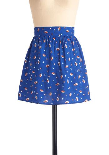 I Like It A-lotus Skirt - Short, Blue, Multi, Print