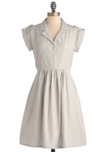 Champs-Elysees You Do Too Dress in Tan by Bibico - Casual, Safari, Vintage Inspired, Grey, Stripes, Buttons, Pockets, Shirt Dress, Short Sleeves, White, Eco-Friendly, Scholastic/Collegiate, Cotton, Button Down, Collared, Fit & Flare, V Neck, International Designer, Mid-length
