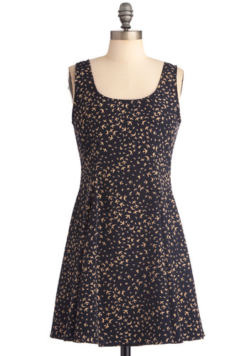 Migrate Escape Dress - Short, Blue, Casual, Tan / Cream, Print with Animals, Tank top (2 thick straps), A-line