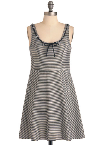 Summer by the Shore Dress by Dear Creatures - Mid-length, White, Stripes, Bows, Casual, Nautical, Black, A-line, Tank top (2 thick straps), Spring