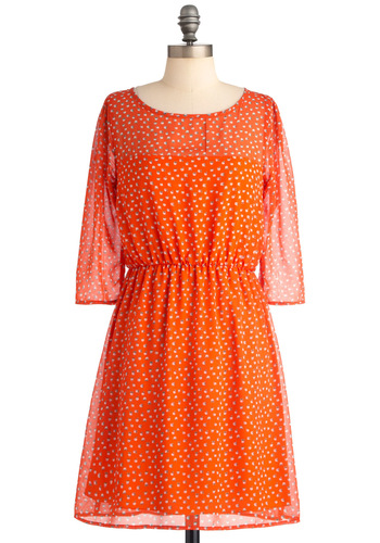 Smoothie Sailing Dress - Mid-length, Orange, Print, 3/4 Sleeve, Fruits, Green, Purple, Casual, Shift