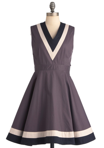 Top Ten Dress by Dear Creatures - Mid-length, Grey, Black, White, A-line, Sleeveless