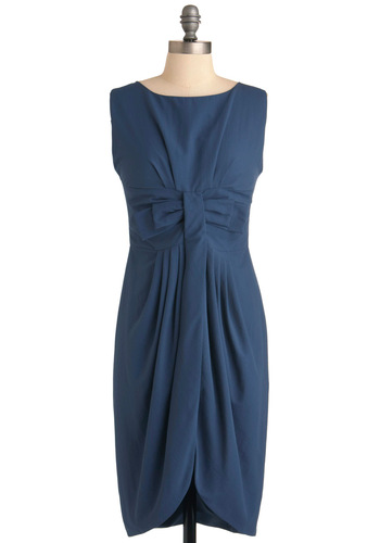 Benefit Brunch Dress by Dear Creatures - Long, Blue, Solid, Bows, Pleats, Shift, Sleeveless, Work, Vintage Inspired, 60s