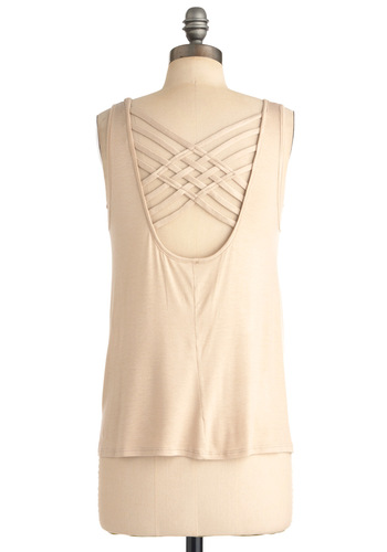 Lattice Top - Cream, Solid, Casual, Woven, Tank top (2 thick straps), Summer, Jersey, Mid-length