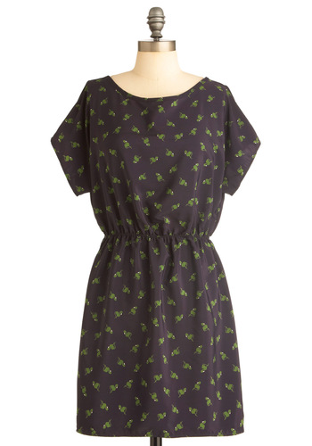 Flamin-Go Your Own Way Dress - Short, Blue, Green, Print with Animals, Backless, Casual, Mini, Sheath / Shift, Short Sleeves