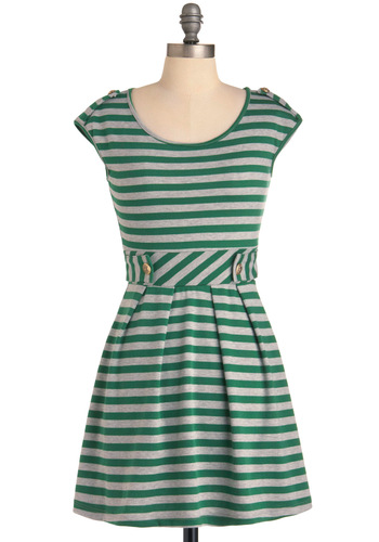 Good Afternoon Dress - Short, Green, Grey, Stripes, Buttons, Pleats, A-line, Cap Sleeves, Casual, Mini
