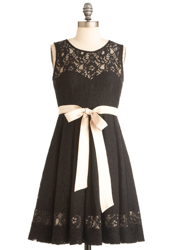 A Long Gaze Dress by Traffic People - Mid-length, Black, Solid, Bows, Lace, A-line, Sleeveless, Tan / Cream, Formal, Wedding