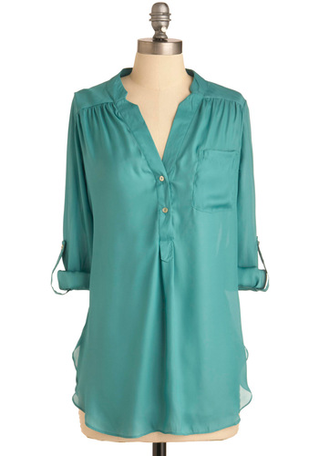 Pam Breeze-ly Tunic in Aqua - Solid, Buttons, Pockets, 3/4 Sleeve, Green, Long, Button Down, V Neck, Casual