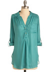 Pam Breeze-ly Tunic in Aqua - Solid, Buttons, Pockets, 3/4 Sleeve, Green, Long, Button Down, V Neck, Casual, Tab Sleeve