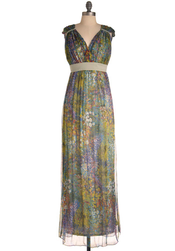 The Thames of Your Life Dress by Traffic People - Long, Multi, Floral, Braided, Wedding, Party, Maxi, Sleeveless, V Neck, Beach/Resort