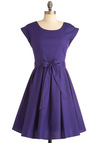 Elegant Arrival Dress - Long, Purple, Solid, Pleats, A-line, Cap Sleeves, Vintage Inspired, 50s, Party, Belted, Cocktail, Holiday Party, Cotton, Fit & Flare