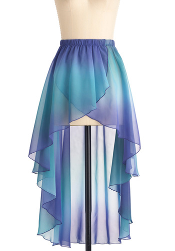 Mermaid for Each Other Skirt - Short, Casual, Fairytale, Blue, Purple, Tie Dye, Ruffles, Summer