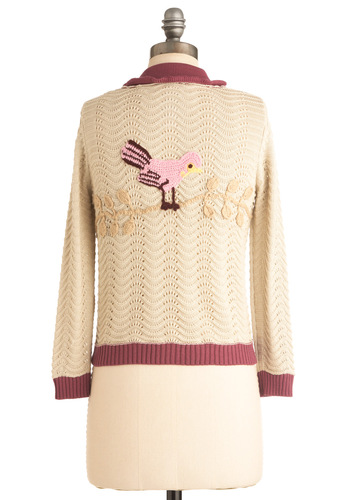 Sing Me a Birdsong Cardigan - Cream, Multi, Purple, Pink, Tan / Cream, Buttons, Crochet, Ruffles, Long Sleeve, Casual, Vintage Inspired, Solid, Short