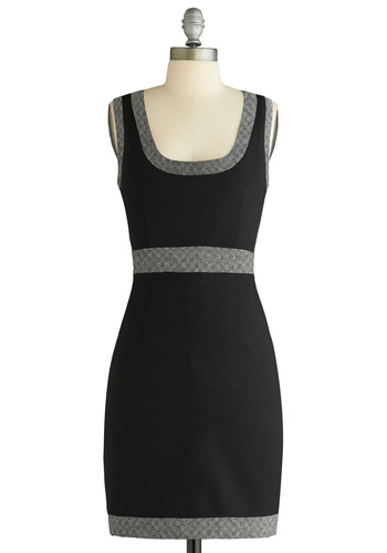 All Your Business Tweeds Dress - Mid-length, Work, Black, Grey, Solid, Trim, Sheath / Shift, Sleeveless