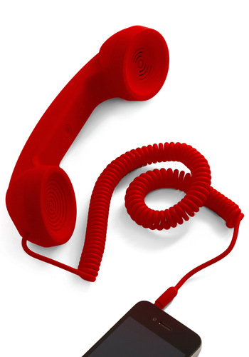 Call to Charm Cell Phone Handset in Red - Red, Solid, Rockabilly, Quirky
