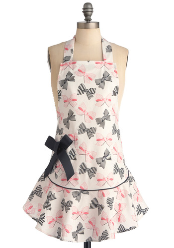 Bow Peep Apron - White, Pink, Black, Novelty Print, Bows, Pockets