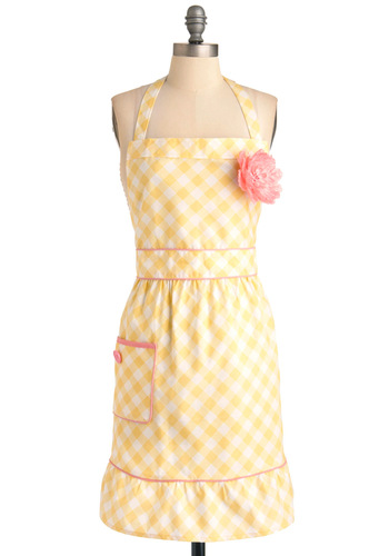 I Ad-meyer Your Taste Apron - Yellow, Pink, White, Checkered / Gingham, Flower, Pockets, Buttons, Rockabilly