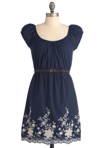 Peering Through the Petals Dress - Blue, White, Cap Sleeves, Casual, Floral, Braided, Buckles, Embroidery, Eyelet, Scallops, Sheath / Shift, Mid-length