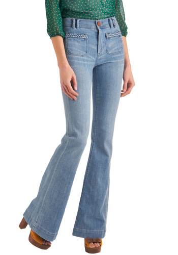 Jan Club President Jeans by Dittos - Long, Blue, Braided, Boho, Vintage Inspired, 70s, Casual, Denim