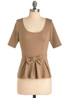 All About You Top - Mid-length, Vintage Inspired, 60s, Tan, Solid, Bows, Short Sleeves