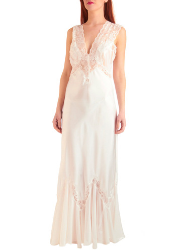Starlet in Satin Slip Gown in White - Vintage Inspired, 20s, 30s, 40s, Slip, Sleeveless, Long, White, Solid, Lace, Scallops