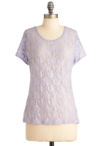 Best Lace Forward Top - Casual, Purple, Floral, Lace, Short Sleeves, Spring, Mid-length