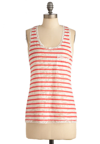 Letter in a Bottle Top - Casual, Red, White, Stripes, Lace, Pockets, Trim, Nautical, Racerback, Summer, Mid-length