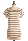 S'more the Merrier Top - Casual, Brown, Tan / Cream, Stripes, Pockets, Short Sleeves, Long