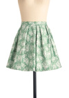 Meadow of Honor Skirt - Short, White, Floral, Pleats, Green, Spring