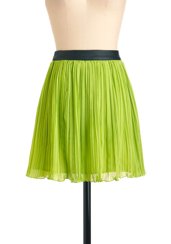 A Fine Lime Skirt - Short, Green, Pleats, Party, 80s, Statement