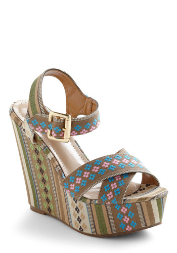 I See the Pattern Wedge - Multi, Blue, Pink, Tan / Cream, Floral, Folk Art, Wedge