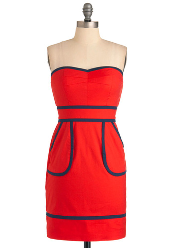 Sweet Pacific Dress - Red, Solid, Pockets, Sheath / Shift, Strapless, Blue, Party, Mid-length