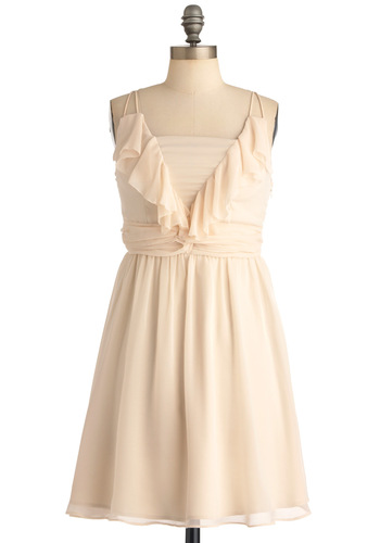 Strikingly Sweet Dress - Mid-length, Wedding, Cream, Solid, Pleats, Ruffles, A-line, Spaghetti Straps, Party, White