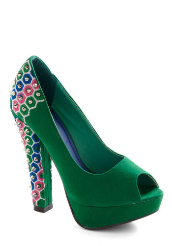 Stud-y Time Heel - Party, Statement, Green, Blue, Pink, White, Studs, Embroidery, 80s