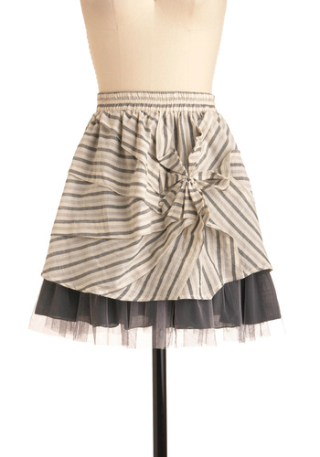 Give Me the Newsprint Skirt by Ryu - Short, Grey, Tan / Cream, Stripes, Pleats, Tiered