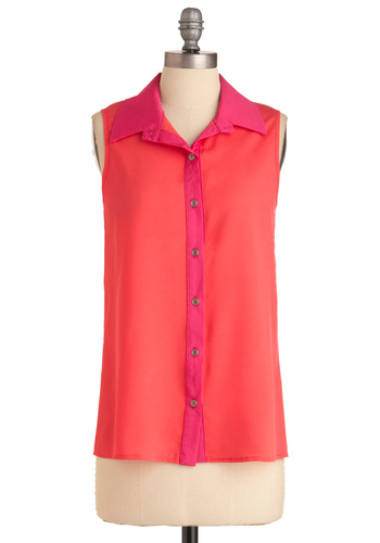 Stop, Block, and Roll Top - Mid-length, Casual, Orange, Pink, Buttons, Neon, Coral, Button Down, Collared, Colorblocking