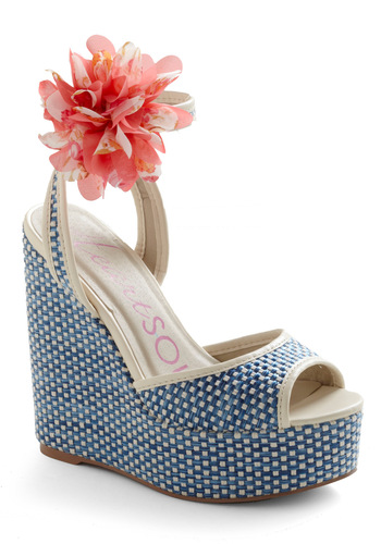 Basket Ball Wedge - Blue, Pink, Tan / Cream, Flower, Woven, Statement, Wedge