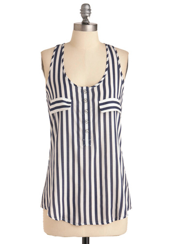I'll Be Racerback Tank - Casual, Nautical, Blue, White, Stripes, Buttons, Racerback, Mid-length