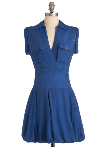 Under Cerulean Skies Dress - Short, Blue, Solid, Casual, Buttons, Pockets, Drop Waist, Cap Sleeves, Vintage Inspired, 20s, 30s