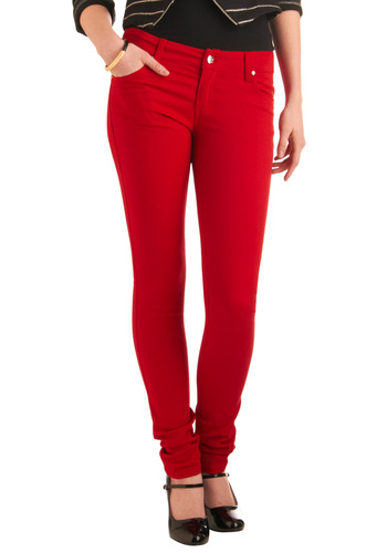 In the Lipstick of Time Jeans - Long, Red, Solid, Buttons, Pockets, Rockabilly, Denim